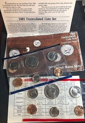 1985 United States Mint P&D Uncirculated 12pc Coin Set with original packaging