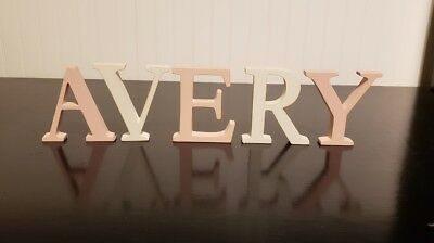 "Pottery Barn Kids PBK Alphabet Letters Wood vintage AVERY 4"" uppercase pink &wht"