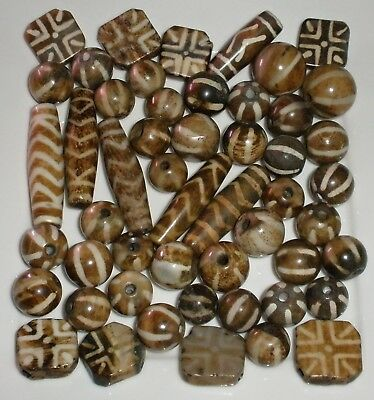 Huge Lot 51 x Ancient Pumtek Pyu Beads - Zig Zag - Tabular - Chevron - 6 Stripe