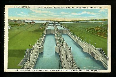 Panama Canal Zone US Vintage postcard Gatun Locks view Dual-Language