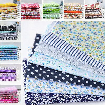 "New 7Pcs Assorted Pre Cut Charm 10""Squares Quilt Cotton Floral Fabric DIY Craft"