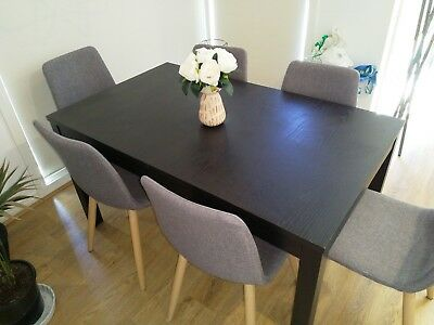 Ikea Brown Black Extendable Dining Table Chairs Not Included