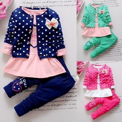 Kids Spring Baby Girls Clothing Sets Cotton Clothes Suit Floral Style Printed