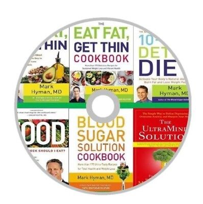 Mark Hyman Complete 8 Books Collection Eat Fat Get Thin Blood Sugar On a CD-Disk