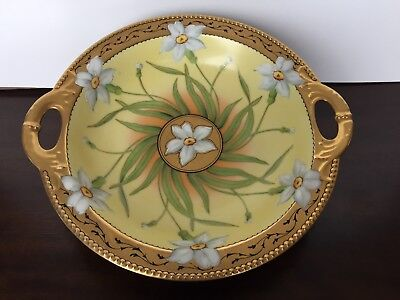 Haviland France Pickard Hand Painted Narcissus Flower Pattern 2 Handle Bowl
