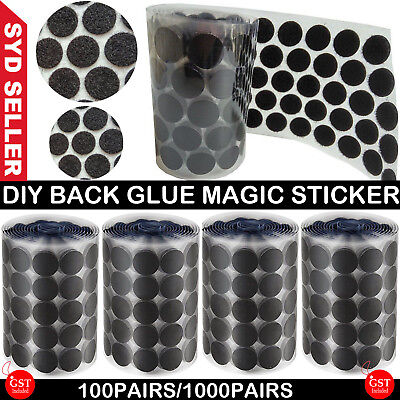 UP 1000 Pairs Sticky Dots Coins Tapes Hook and Loop Circles Self Adhesive 20MM