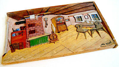 1954 SIGNED Israel 3D WOOD RELIEF CARVING Painted JEWISH ROOM Judaica HEBREW ART