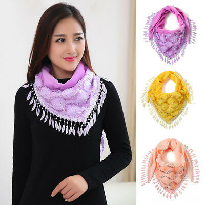 Women Lady Embroidered Lace Triangle Scarf Tassels Fashion Wrap Shawl Scarves