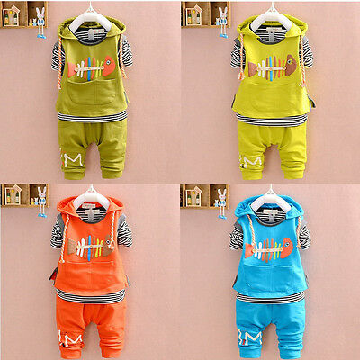 3pcs Kids Baby Boys Girls Vest+T shirt+Pants Set Outfits Spring Fall Clothing