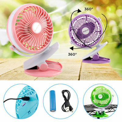 AU Rechargeable Battery Operated Clip on Mini Desk Fan Stroller Fan with USB Fan