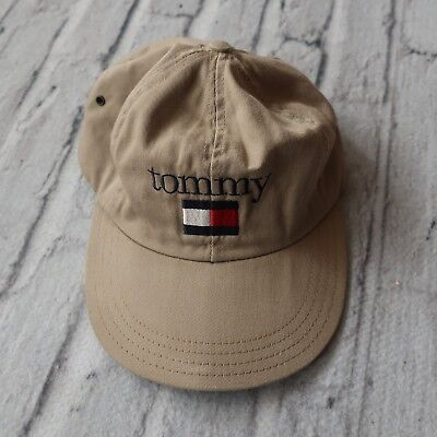 VINTAGE 90S TOMMY Hilfiger Spell Out Flag Long Bill Elastic Back Hat ... 337e1b0755ca