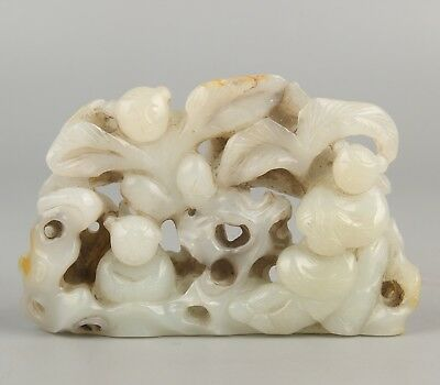 Chinese Exquisite Hand-carved children carving Hetian jade statue