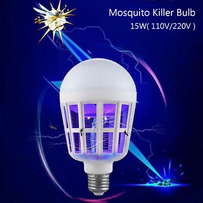 E27 15W LED Zapper Anti Mosquito Light Bulb Lamp Flying Insects Moths Killer US