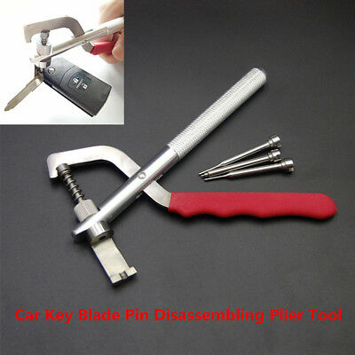 Car Remote Key Blade Pin Plier Disassembling Clamp Lock Tool+3Pcs Pin Durable