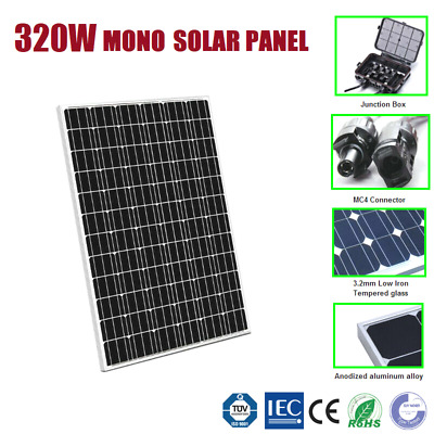 320W 12V Mono Solar Panel Home Off Gird Caravan Battery Power Charging 320 Watt