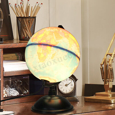 Illuminated World Earth Globe Blue Ocean Rotating With Night Light Desktop