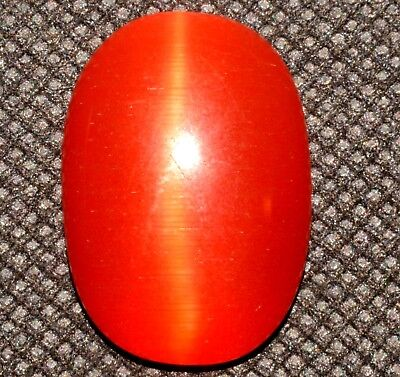 31.20 Ct Natural Orange Cat's Eye AGSL Certified Cabochon Rare Found Loose Gem
