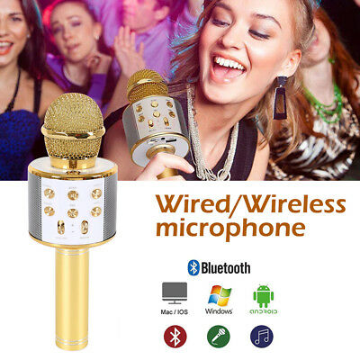 Wireless Bluetooth Karaoke Microphone Speaker Handheld Mic USB Player KTV CA