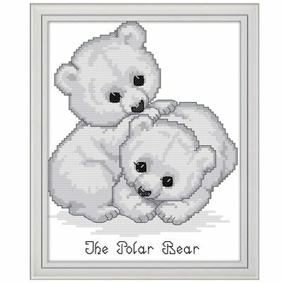 DIY Lovely Bear Handmade Needlework Counted 14CT Cross Stitch Embroidery Kit Set