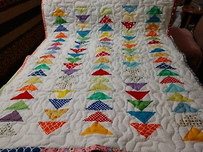 Handmade Pieced Flying Geese Multi Boy Girl Baby Lap Crib Quilt Throw Blanket