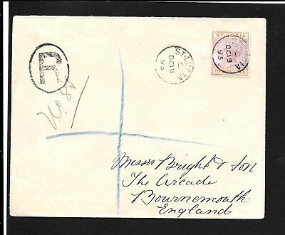 St Lucia 1895 Qv 5/- On Cover To Uk Received 31.10.1895