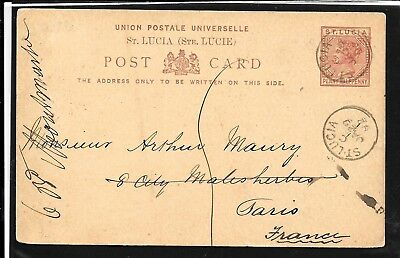ST LUCIA 1892 QV 1½d TO FRANCE POSTAL STATIONERY CARD