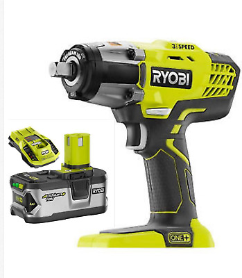 RYOBI 18V 1/2in 3-Speed Li-Ion Impact Wrench Driver W/4.0Ah battery&Fast Charger