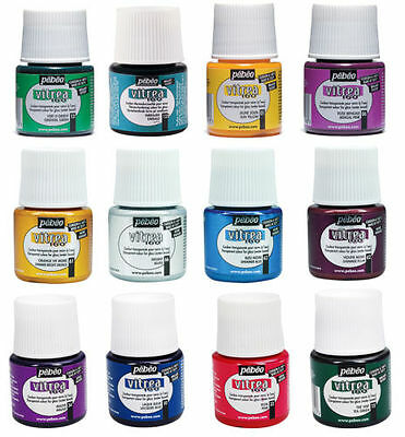 Pebeo Vitrea 160 GLASS PAINT- GLOSSY - FROSTED - SHIMMER  AUXILLARIES 45ml POTS