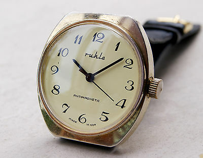 Fabulous Very Rare Mens Ruhla Gold Plated Watch Antimagnetic Made In Gdr!