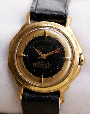Fabulous Very Rare Mens Super Gold Plated Watch Antimagnetic Made In Germany