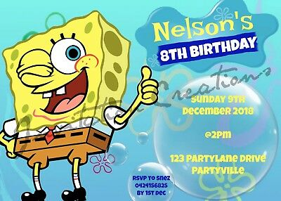 DIY Print Custom Girl Boy SPONGEBOB SQUAREPANTS Birthday Design Party Invitation