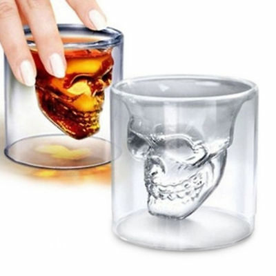 Crystal Skull Head Vodka Shot Whiskey Wine Drinking Glass Decanter Cup Home AU