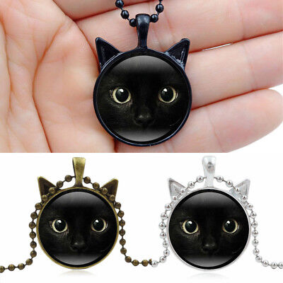 Jewelry Long Chain Necklace Steampunk Cat Cabochon Glass Cat Face Pendant
