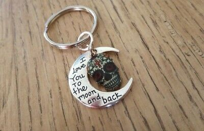 'I Love You to the Moon & Back' Keyring with an Enamel Sugar Skull Charm - Gift