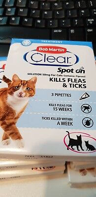 Bob Martin Flea & Tick Clear Fipronil Cat Spot-on 3 Pipettes NEW FREE UK POSTAGE
