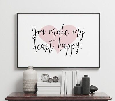 Make My Heart Happy Love Home Quote Wall Art Poster Print Black Landscape -X9