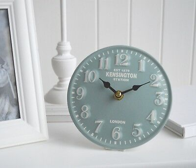 Small London Vintage Style Station Mantle Bedside Clock Duck Egg Shabby Chic