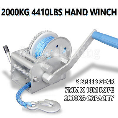 GIANT 2000KG/4410LBS 3 Speed Hand Winch Dyneema Synthetic