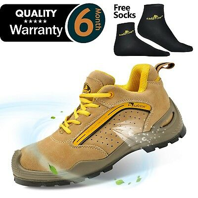 SAFETOE Mens Safety Work Shoes - L7296 Leather & Steel Toe Work Boots for Hea...