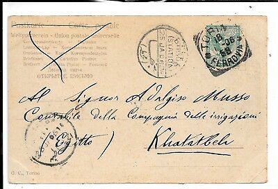 Egypt 1906 Incoming Postcard From Italy Station Postmark