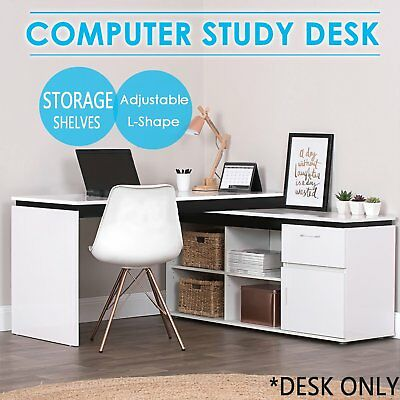 Office Home L-Shape Corner Desk Computer Study Table With Storage Cabinet White^