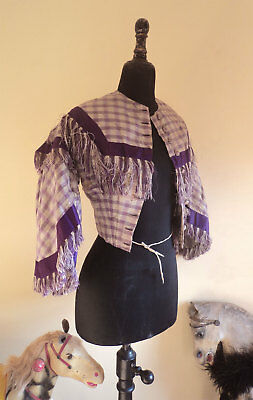 Abito antico corpetto in seta metà '800 Antique mid 19th C. purple silk bodice