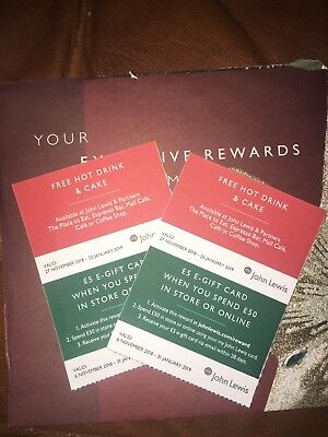 John Lewis Hot Drink And Cake Voucher X2