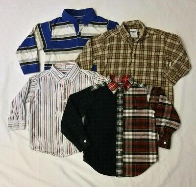 Toddler Boys Plaid / Striped Button Down Dress Shirts Lot of 4 Chaps / Place