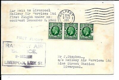 Ireland Belfast To Liverpool Cover (Damage To 1 Stamp)