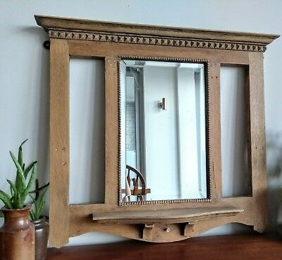 Vintage Oak Mirror shelf Rustic Carved  Mantle Edwardian Victorian Period Wood