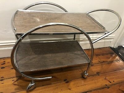 Vintage original Art Deco 1930s chrome drinks/gin trolley/cart