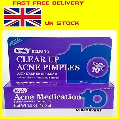 42.5 gram Rugby 10% benzoyl peroxide acne medication pimple,spots,blackhead gel