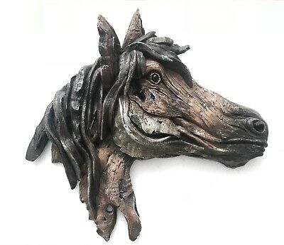 Vintage L@@K COLD CAST Equestrian HORSE HEAD Old FARM BARN Wall SCULPTURE Bust S