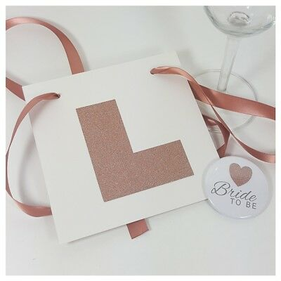 Hen Party Rose Gold L Plate, Glitter Matching Bride To Be Badge, Hen Do, Night